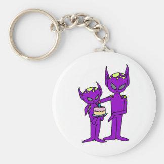 aliens say happy birthday keychain