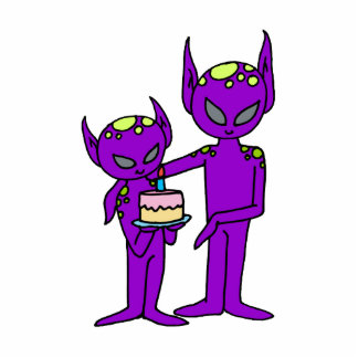 aliens say happy birthday photo sculpture