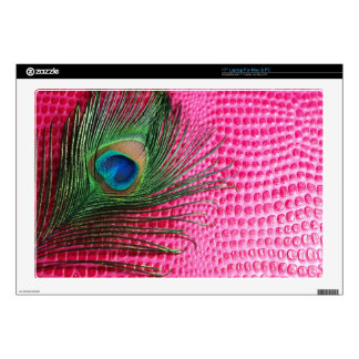 Aligator Pink with Peacock Feather Still Life Skin For Laptop