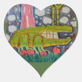 Aligator With Six Legs Heart Sticker
