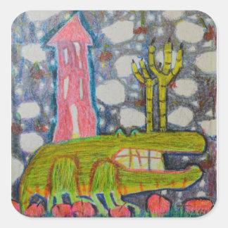 Aligator With Six Legs Square Sticker
