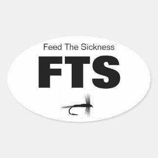 Alimentación de la pesca con mosca el sistema del pegatina ovalada