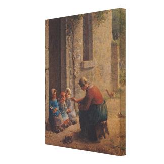 Alimentación de los jóvenes, 1850 lienzo envuelto para galerías