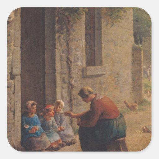 Alimentación de los jóvenes, 1850 pegatina cuadrada