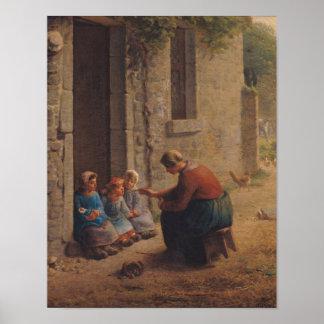 Alimentación de los jóvenes, 1850 póster