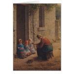 Alimentación de los jóvenes, 1850 tarjeta de felicitación