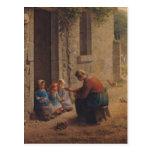 Alimentación de los jóvenes, 1850 tarjeta postal