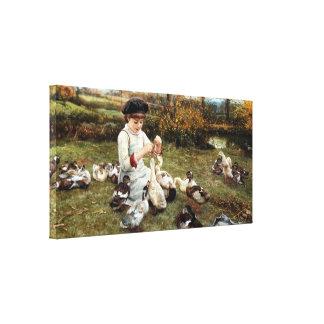 Alimentación de los patos impresión en lona estirada