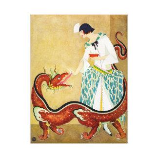 alimentación de su dragón impresión en tela