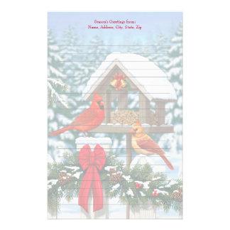 Alimentador del pájaro de los cardenales y del papeleria personalizada