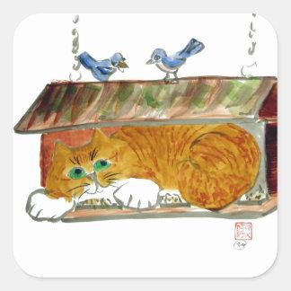 Alimentador del pájaro y gato de tigre del naranja pegatina cuadrada