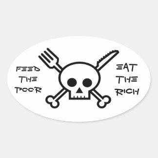 Alimente a los pobres comen a los ricos - pegatina