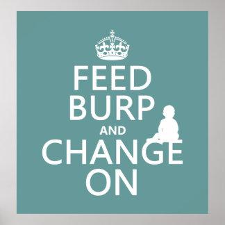 Alimente el Burp y cambie en (bebé) (cualquier col Póster