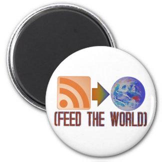 Alimente el mundo imán redondo 5 cm