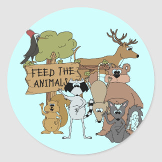 Alimente los animales etiquetas redondas