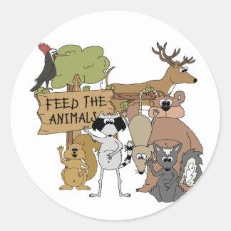 Alimente los animales pegatinas redondas