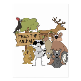 Alimente los animales tarjetas postales