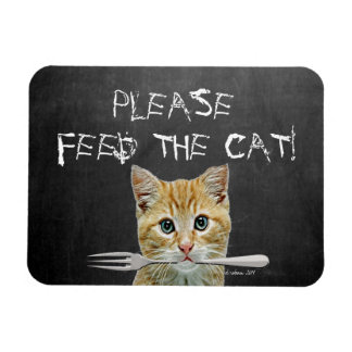 ¡Alimente por favor el gato! - Gato divertido Imanes Flexibles