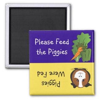 Alimente por favor el Piggies Imán Cuadrado