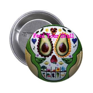 Alimente su botón del cráneo pin redondo de 2 pulgadas
