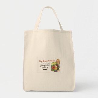 Alimento biológico bolsa tela para la compra