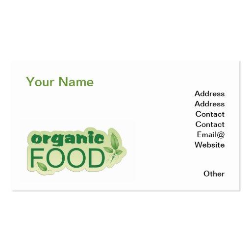 Alimento biológico tarjeta de visita