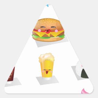 alimentos de preparación rápida del kawaii pegatina triangular