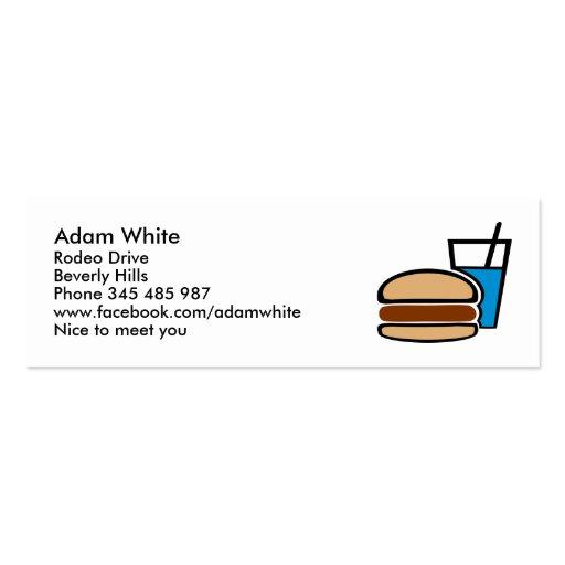 Alimentos de preparación rápida - hamburguesa tarjetas de visita mini