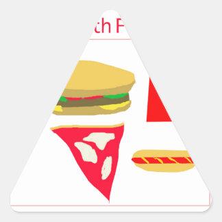 Alimentos de preparación rápida pegatina triangular