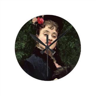 Aline Masson, el modelo del artista (aceite en el  Reloj Redondo Mediano