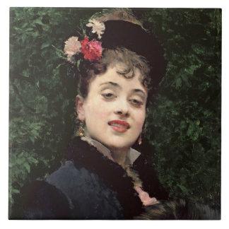 Aline Masson, the Artist's Model (oil on panel) Ceramic Tile