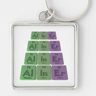 Aliner-Al-In-Er-Aluminium-Indium-Erbium Silver-Colored Square Keychain