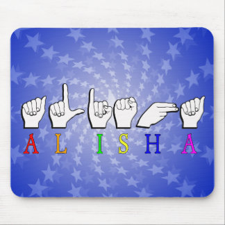 ALISHA FINGERSPELLED ASL NAME FEMALE MOUSE PAD