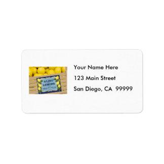 Aliso Lemons in a Crate Custom Address Labels