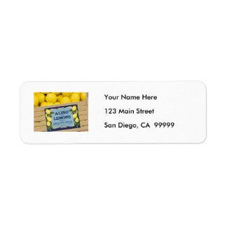 Aliso Lemons in a Crate Custom Return Address Labels