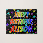"[ Thumbnail: ""Alison"" First Name, Fun ""Happy Birthday"" Jigsaw Puzzle ]"