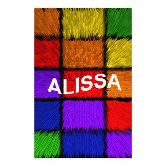 ALISSA ( female names ) Stationery
