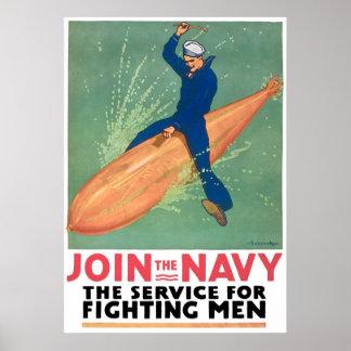 Alistamiento de la marina de guerra del vintage póster