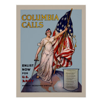 Alistamiento del ejército del vintage WW1 de las l Poster