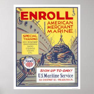 Aliste a la marina mercante americana - WPA Impresiones