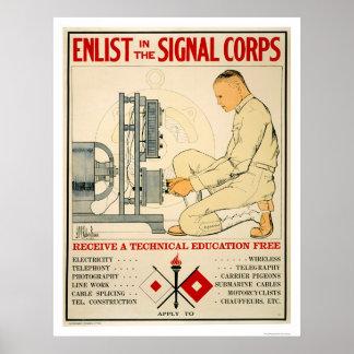 Aliste en el cuerpo 1919 de la señal póster