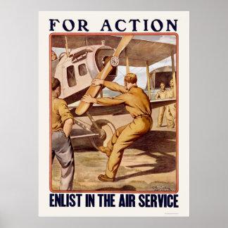Aliste en el servicio aéreo póster