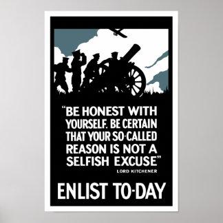 Aliste hoy -- Señor Kitchener WWI Póster