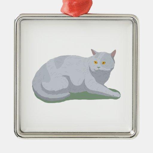 Aliste para dejar el gato adorno navideño cuadrado de metal
