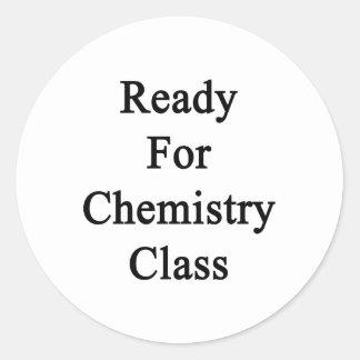 Aliste para la clase de química etiquetas redondas