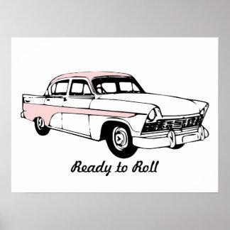 Aliste para rodar el coche del vintage póster