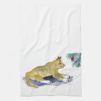 Aliste para saltar, gato de tigre y los ornamentos toalla de cocina