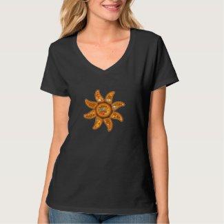 Alive, aware, awake radiant sun emoji-word art t shirts