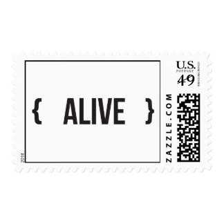 Alive - Bracketed - Black and White Postage