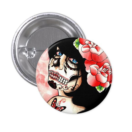 Alive Sugar Skull Girl Pinback Button